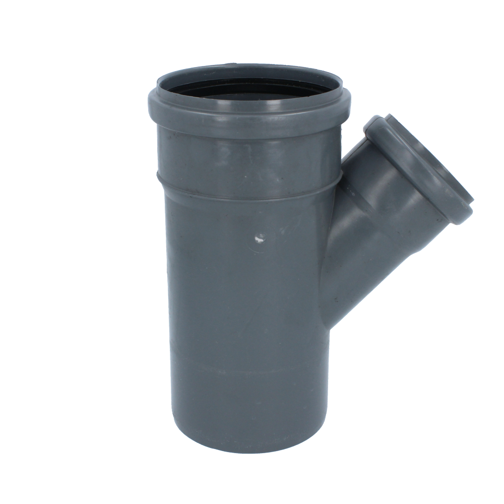 Trójnik kanalizacyjny szary 110 mm x 75 mm 45 stopni