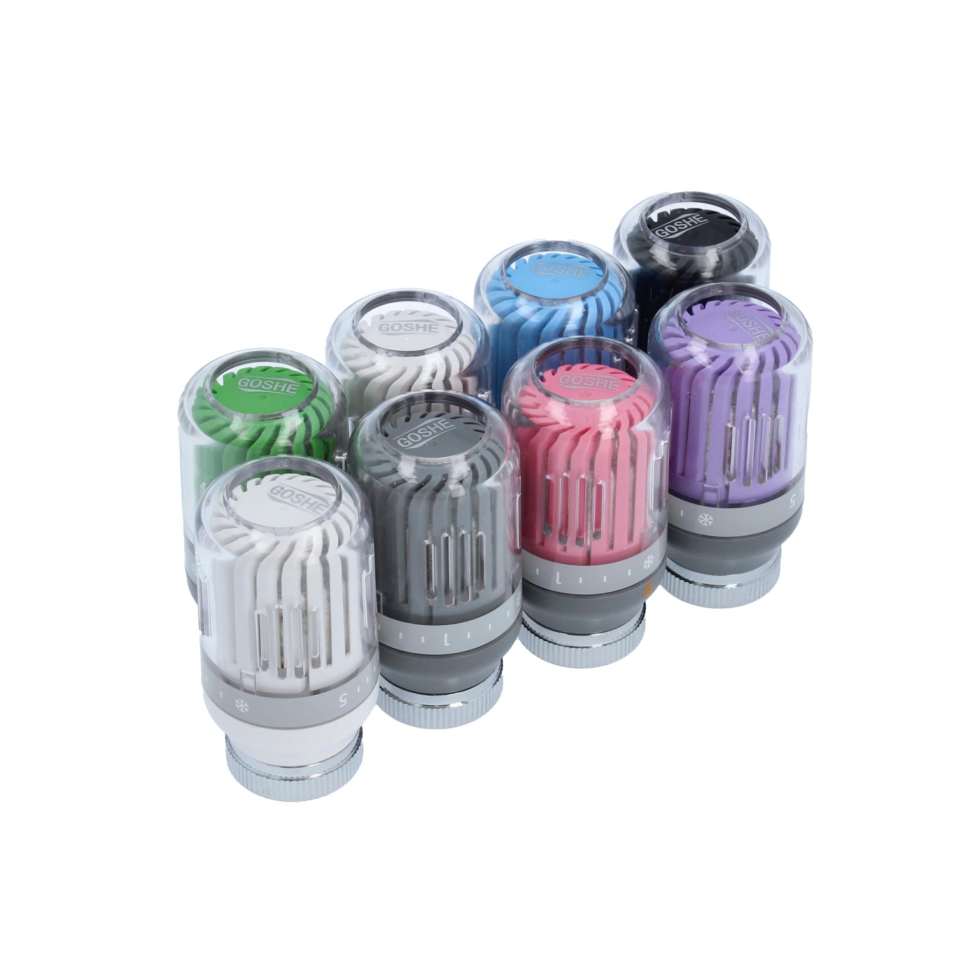 Głowica termostatyczna Crystal Color różowy-szary