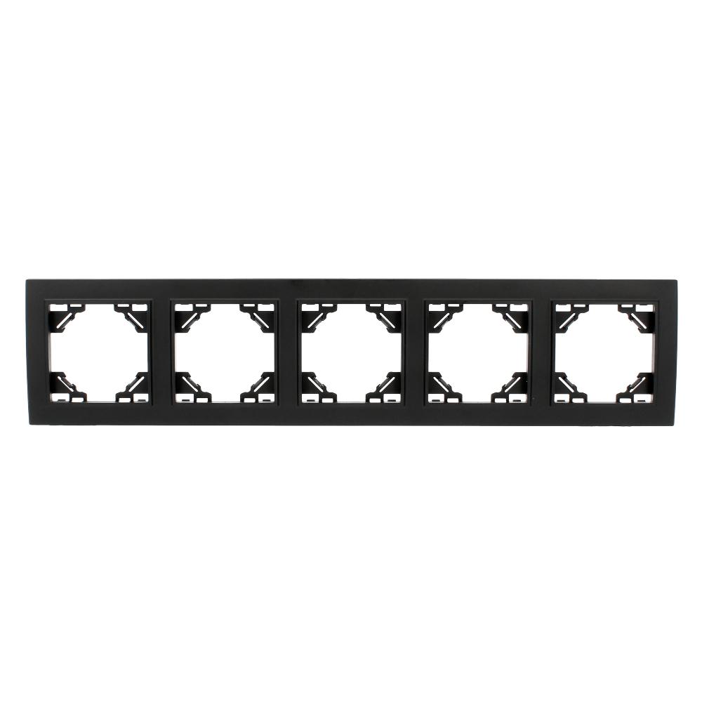 Ramka Quadra czarna plastikowa pięciokrotna