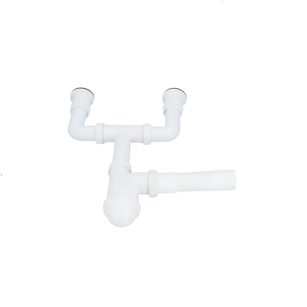 Syfon plastikowy do zlewu z metalowym sitkiem dwukomorowy