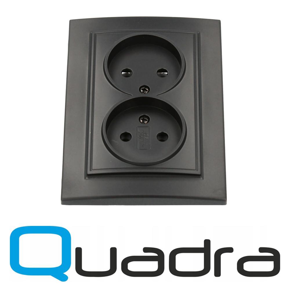 Gniazdo Quadra podtynkowe czarne podwójne bez uziemienia