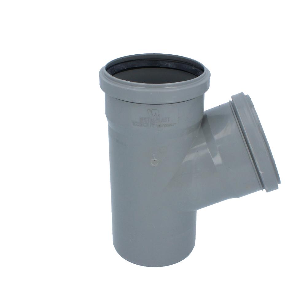 Trójnik kanalizacyjny szary 110 mm x 110 mm 67 stopni